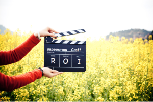 clapperboard with Cost vs ROI